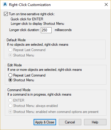 Right Click Customization do AutoCAD